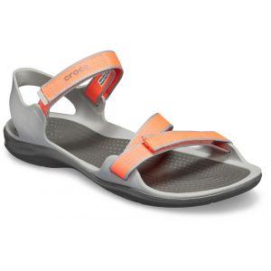 Crocs Swiftwater Webbing Sandal W - Sandales et nu-pieds Femme, Gris