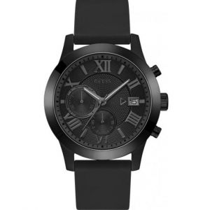 Guess Montre W1055G1 - ATLAS Boitier Acier Noir Bracelet Silicone Noir Cadran Noir Homme