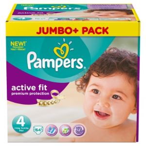 Pampers Active Fit taille 4 Maxi (7-18 kg) - Jumbo Plus Pack 64 couches