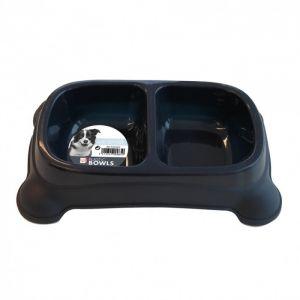M pets Gamelle en plastique double PLASTIC BOWL - Pour chien - 2x950ml - Coloris divers - Gamelle double - Système antidérapant