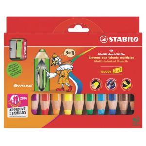 Stabilo 10 Crayons de couleur Woody 3 en 1 assortis