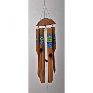 Carillon a vent peint Dauphins Bambou - Tube env.50cm - Carillon peint dauphins Bambou - Tube env.50cm