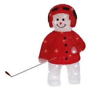 Blachère illumination Bonhomme de neige hockeyeur lumineux 32 LED