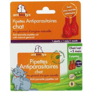 Anibiolys Pipettes antiparasites chat au géraniol naturel