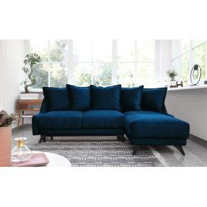 Bobochic NEW ENGLAND - Canapé angle droit Convertible avec coffre bleu marine