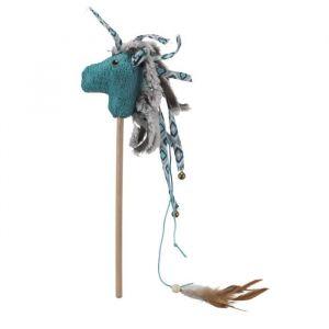 Trixie Canne à pêche avec cheval - Peluche et tissu - 37 cm - Pour chat