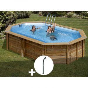 Sunbay Kit piscine bois Cannelle 5,51 x 3,51 x 1,19 m + Douche