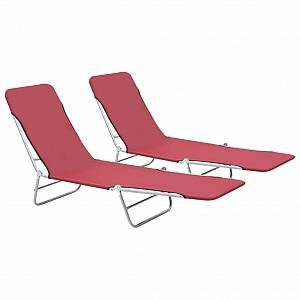 VidaXL Chaise longue pliable 2 pcs Rouge