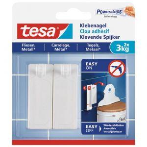 Tesa Clou adhésif - carrelage, métal - 3kg - lot de 2 - Crochet adhésif, Support adhésif