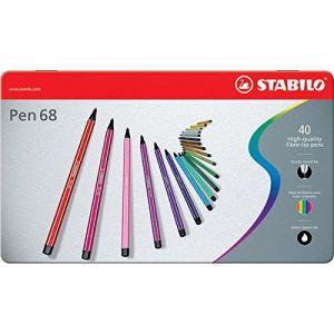 Stabilo Boîte métal de 40 feutres à dessin Pen 68 pointe ogive