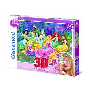 Clementoni Puzzle effet 3D : Princesses Disney 104 pièces