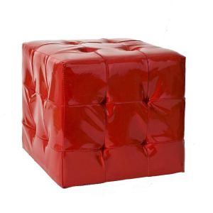 INDIRA 2 poufs carrés en simili cuir (35 x 35 cm)
