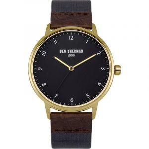 Ben Sherman Hommes de montre à quartz avec Gris Cadran Affichage Analogique et Bracelet en Tissu Bleu wb049ug