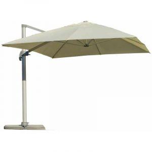 Hévéa Grand parasol 4x3m en aluminium déporté toile beige - DER43