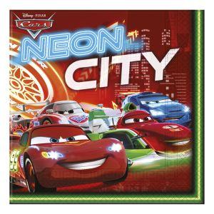 20 serviettes Cars Néon City (16.5 x 16.5 cm)