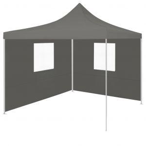 VidaXL Tente de réception escamotable avec 2 parois 3x3 m Anthracite