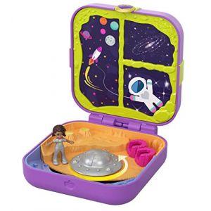 Mattel Polly Pocket Coffret Secret Shani Dans L'espace avec Mini-figurine, 3 Surprises, Accessoires et autocollants, Jouet Enfant, Édition 2019, Gdl84