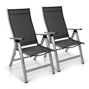 Blumfeldt Set 2 chaises de jardin London - 6 positions - assise 45 x 44 cm - argent