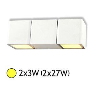 Vision-El Applique murale double LED 2x3W (2x27W) IP54 Blanc chaud 3000°K Cube Blanc