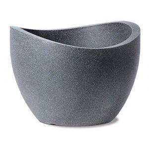 Scheurich Pot en plastique rotomoulé Wave Globe 250 - 50 x 37,1 cm - Noir granite - Plastique rotomoulé - 50 x 37,1 cm - 37 L - Noir granite - Résistant au gel et aux UV - Bouchon amovible