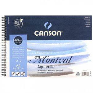 Canson Papier Montval, 21 x 29,7cm - 300g/m² - Album à spirale 12 feuilles, Fin, Grain fin