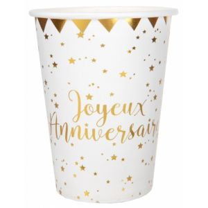 Santex Gobelets Joyeux Anniversaire Blanc et Or x10