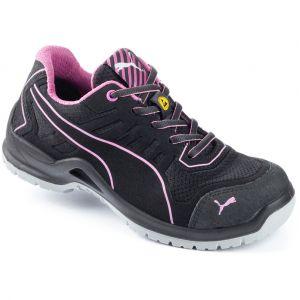 Puma Safety Chaussure de sécurité basse femme Fuse Pink Low ESD S1P SRC Noir/Rose 37