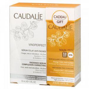 Caudalie Vinoperfect - Coffret sérum éclat anti-taches et soin solaire visage anti-âge SPF50