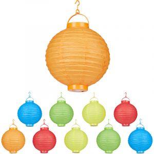 Relaxdays Lampion chinois LED abat-jour papier lanterne boule 20 cm rond décoration set de 10 à piles, coloré