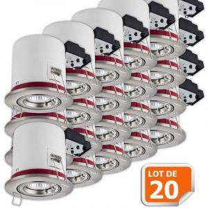 Lampesecoenergie Lot de 20 Support de spot BBC Orientable Alu Brossé 100mm avec douille GU10 et ampoule led Blanc Chaud ref. 819