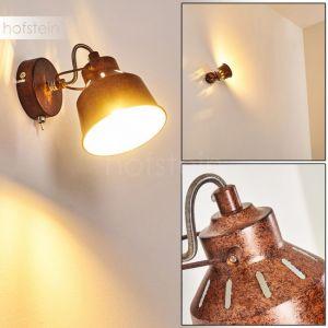 Hofstein Applique Safari en métal, aspect rouille, spot mural avec interrupteur intégré, pour une ampoule E14, max 40 Watt, compatible ampoules LED