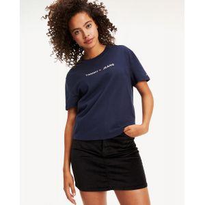 Tommy Jeans T-shirt ample signature brodée coton Ligne Bleu Tommy Hilfiger