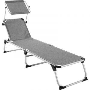 TecTake Transat AURELIE - chaise longue de jardin, bain de soleil, transat de plage - gris chiné