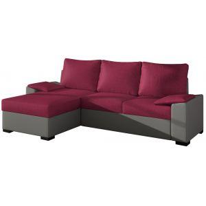 Comforium Canapé d'angle convertible 3 places en tissu rose et cuir synthétique gris avec coffre méridienne côté gauche