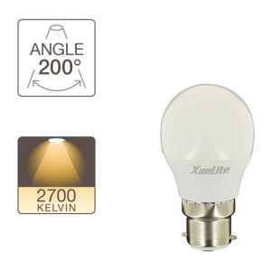 Xanlite Ampoule LED P45, culot B22, 5,3W cons. (40W eq.), lumière blanc chaud
