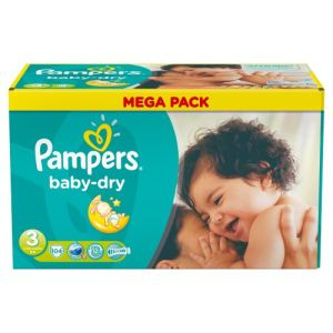 Pampers Baby Dry taille 3 Midi 4-9 kg - Mega Pack 104 couches