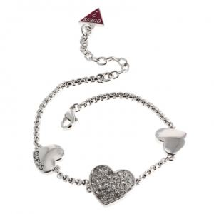 Guess UBB11446 - Bracelet Chaîne Multicoeurs argenté pour femme