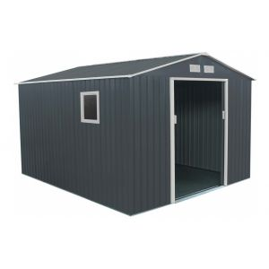 Abri de jardin métal 8,84m² plus anthracite + kit d'ancrage x-metal