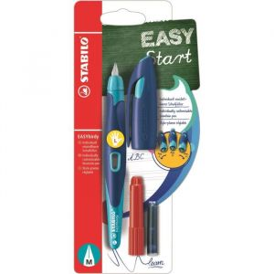 Stabilo Stylo plume EASYbirdy - Stylo ergonomique rechargeable - Bleu/turquoise - Gaucher - Avec clé de réglage