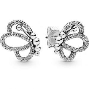 Pandora Boucles d'oreilles Animaux 297912CZ - Boucles d'oreilles Silhouettes de Papillon ajourés Argent