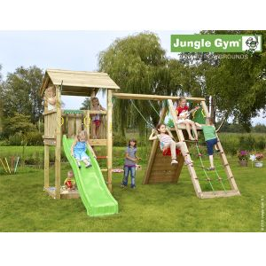 Jungle Gym Jhumpadi - Aire de jeux en bois + toboggan - 9 enfants