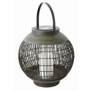 Globo Lampe solaire extérieure à LED lanterne luminaire en métal noir effet feu jardin chemin de la cour