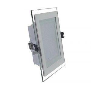 V-TAC 12W LED MINI PANNEAU DE LED DOWNLIGHT VERRE - CARRÉ BLANC MOD. VT- 1202G SQ SKU 4742 blanc chaud 3000k