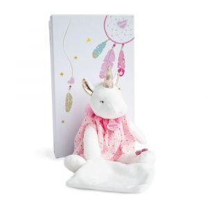 Doudou et Compagnie Attrape-rêve - licorne pantin avec doudou - 28 cm