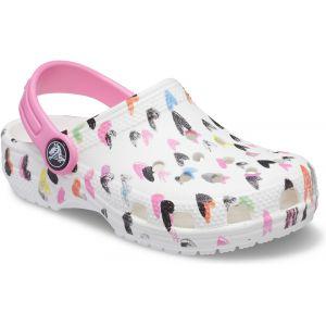 Crocs Classic Heart Print Clog, Sabot Mixte Enfant, White, 25/26 EU