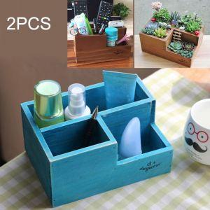WeWoo Pot de fleur 2 PCS Rétro Carré De En Bois Boîte En Woody De Rangement En Multi-fonctionnelle, Livraison Couleur Aléatoire