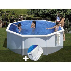 Gre Kit piscine acier blanc Bora Bora ronde 3,20 x 1,22 m + Tapis de sol