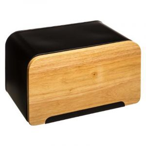 Secret de Gourmet Boîte à pain avec planche à découper intégrée - L 35 x l 20 x H 21,7 cm - Bois et fer - Noir
