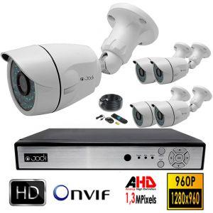 Jod-1 Kit de vidéo surveillance AHD 5 caméras tube 1,3 Mégapixels avec disque dur de 4 To