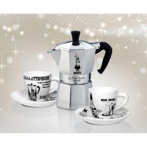 Bialetti Moka Express Carrousel + 2 tasses et sous tasses - Cafetière italienne